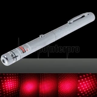 200 mW Middle Open Starry Pattern Luz roja Naked Laser Pointer Pen Plata