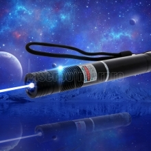 2000mW 405nm Focus Pure Blue Beam Light Laser Pointer Pen with 16340 Rechargeable Battery Black