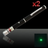 2Pcs 200mW 532nm Mid-open Green Laser Pointer Pen