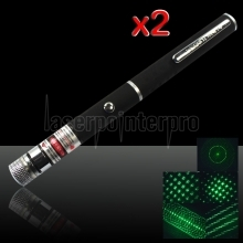 2Pcs 5-em-1 200mW 532nm Open-back Kaleidoscopic Caneta Laser Pointer Verde