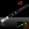 5Pcs 100mW 532nm Mid-open Fixed Focus Green Laser Pointer Pen