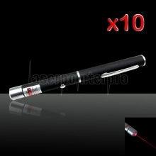 10Pcs 20mW 650nm Mid-open Red Laser Pointer Pen con 2 pilas AAA