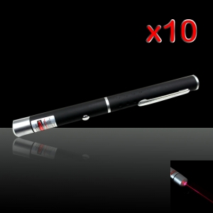 10Pcs 20mW 650nm Mid-open Red Laser Pointer Pen with 2 AAA Batteries