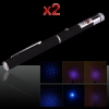 2Pcs 2 in 1 5mw 405nm Mid-open Light&Kaleidoscopic Blue-violet Laser Pointer