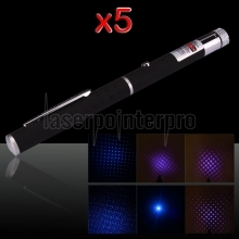 5Pcs 2 in 1 5mw 405nm Mid-open Light&Kaleidoscopic Blue-violet Laser Pointer