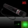 5Pcs 200mW 532nm 303 Focus Kaleidoscopic Flashlight Green Laser Pointer (with one 18650 battery)