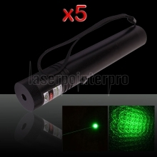 Laser 302 5Pcs 250mW 532nm Flashlight Style Green Laser Pointer Pen with 18650 Battery