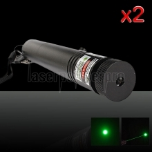 Laser 302 2Pcs 230mW 532nm Adjust Focus Flashlight Style Green Laser Pointer Pen Black with 18650 Battery