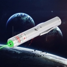 Stylo pointeur laser rechargeable à point unique 200mW 532nm Green Beam Light, argent