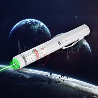 200mW 532nm Green Beam Light Starry Rechargeable Laser Pointer Pen Silver