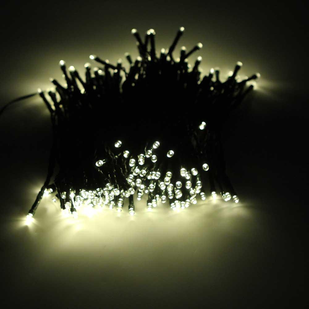 200-LED luz branca quente ao ar livre impermeável Natal decoração Solar Power String Light