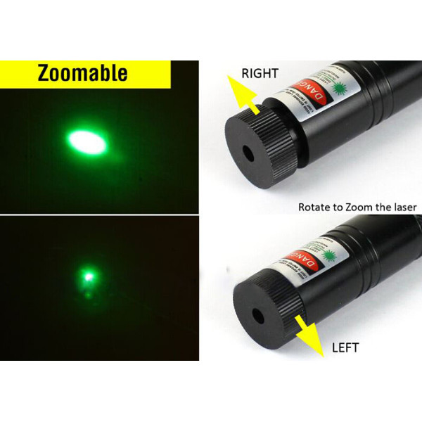 500mW 532nm Starry Sky Style Green Light Waterproof Alumínio Laser Pointer Black