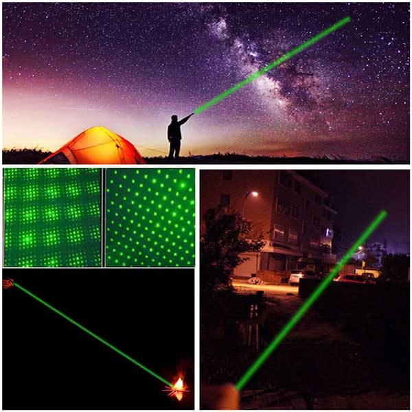 500mW 532nm Starry Sky Style Green Light Waterproof Aluminum Laser Pointer Black