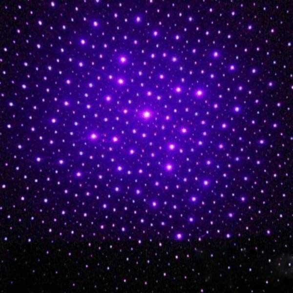 200mW 405nm Nuovo involucro in acciaio Caleidoscopio Cielo stellato Stile Viola chiaro Puntatore laser impermeabile Argento