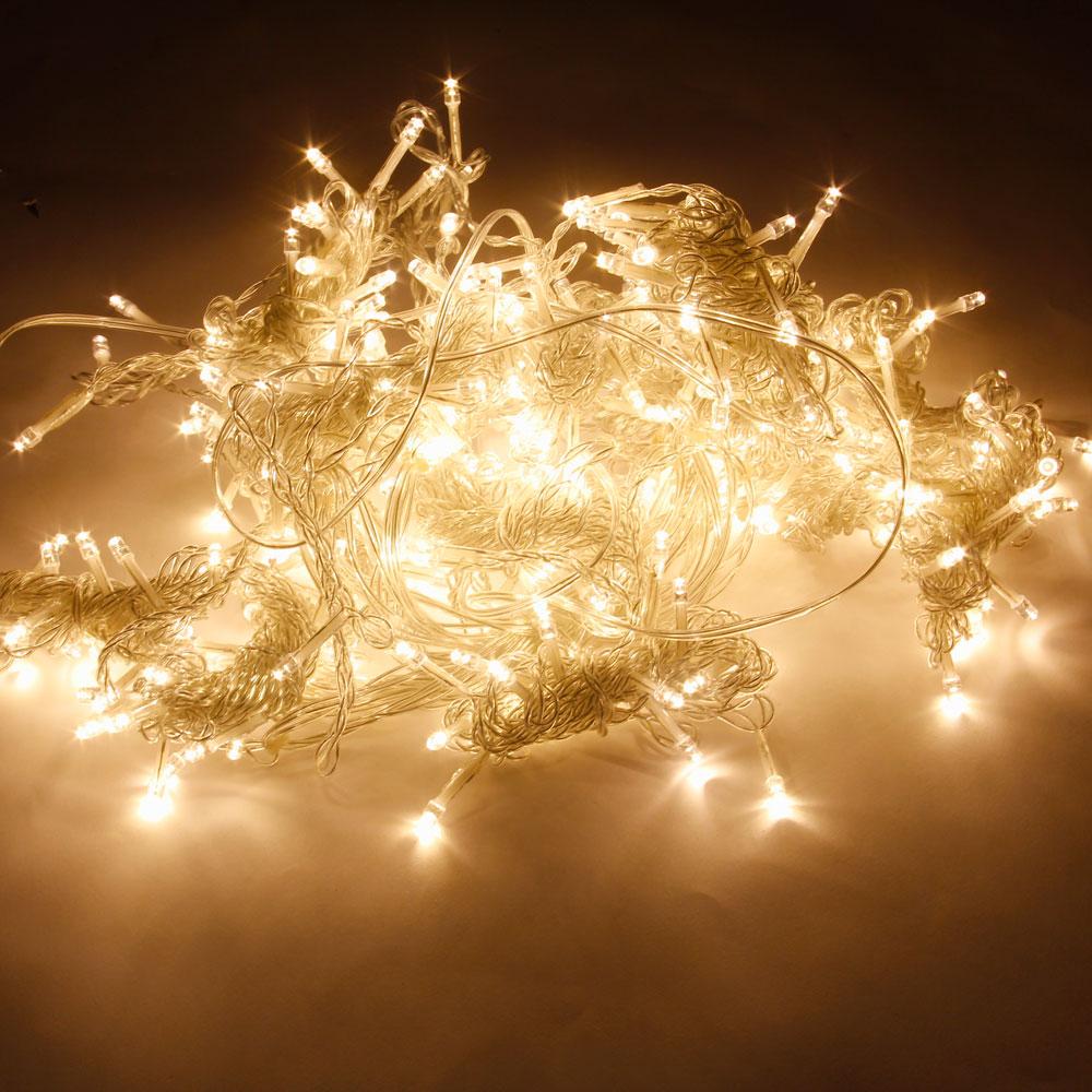 3M x 3M 300-LED luce bianca calda romantico matrimonio di Natale Decorazione esterna tenda luce stringa (110V) spina standard europeo