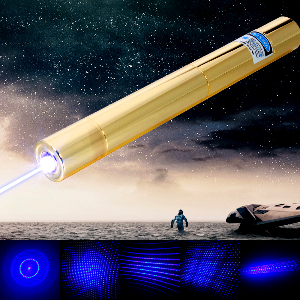 5000mW 450nm Blue Ray Multifuncional Copper Laser Pointer Dourado
