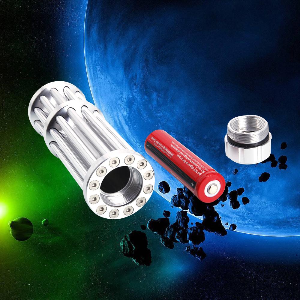 500mW 532nm luz verde ponteiro laser 12 tubo 5 cabeça prata
