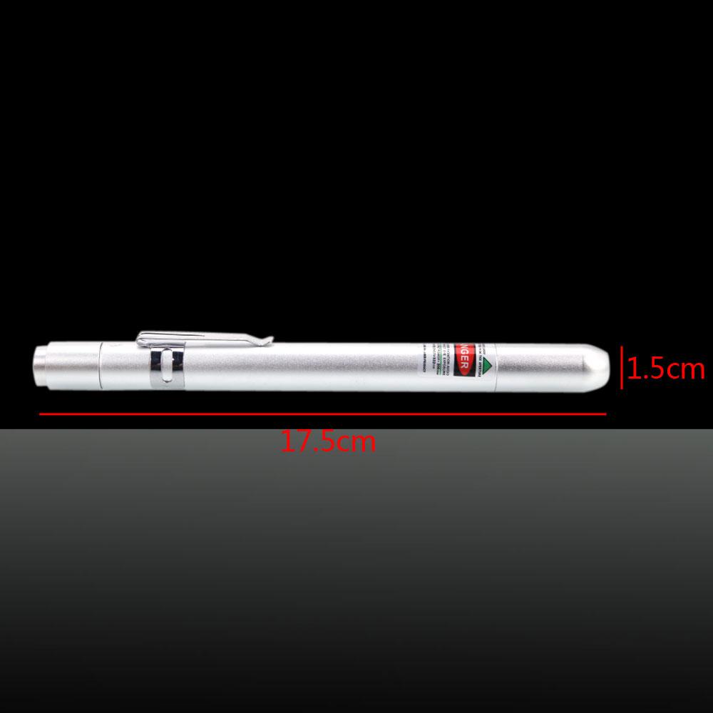 50mW 532nm Green Light Clip Laserpointer Silber