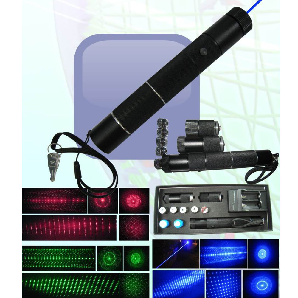 Multifunctional 3-in-1 10000mW Blue & Green & Red Laser Beam Zooming Laser Pointer Pen Black