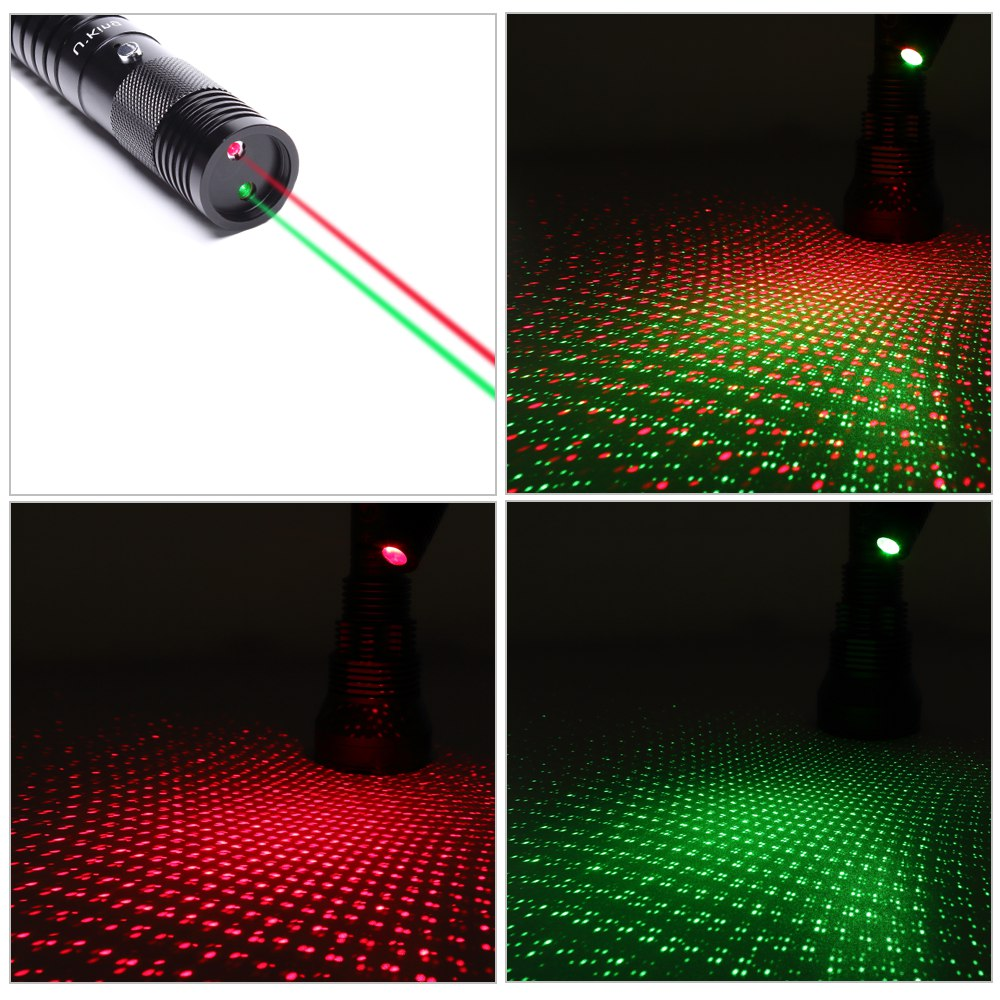 UKing ZQ-J32 300mw 532nm & 650nm double light 5 in 1 USB Laser Pointer