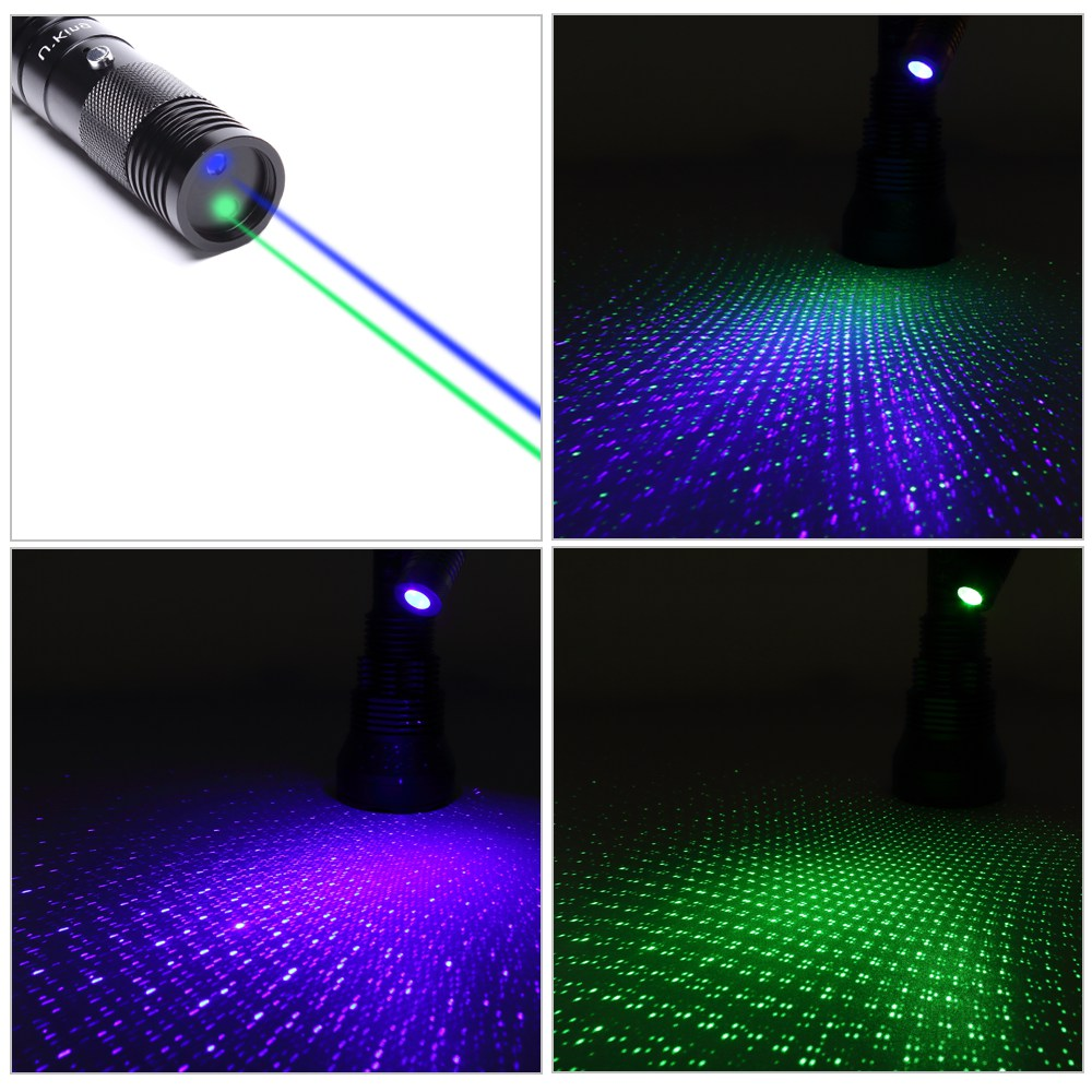 UKing ZQ-J33 400mW 532nm & 450nm Doppeltes Licht 5 in 1 USB Laser Pointer