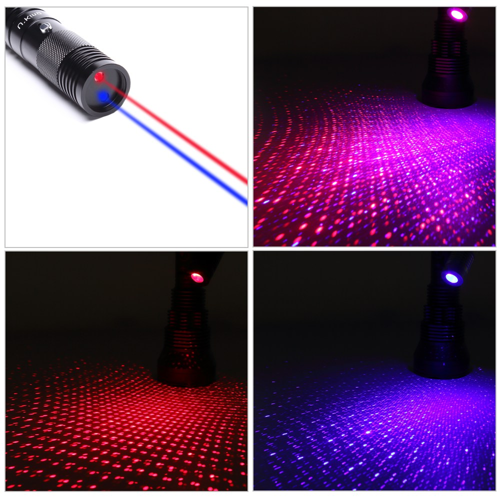 UKing ZQ-J34 300mw 650nm & 450nm doppeltes Licht 5 in 1 USB Laser Pointer