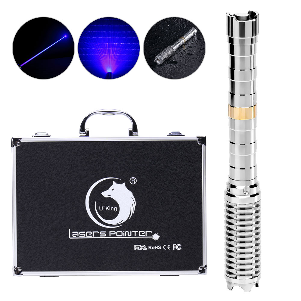 UKing ZQ-J37-T1 5000mw 450nm 5 in 1 two model USB Blue Laser Pointer