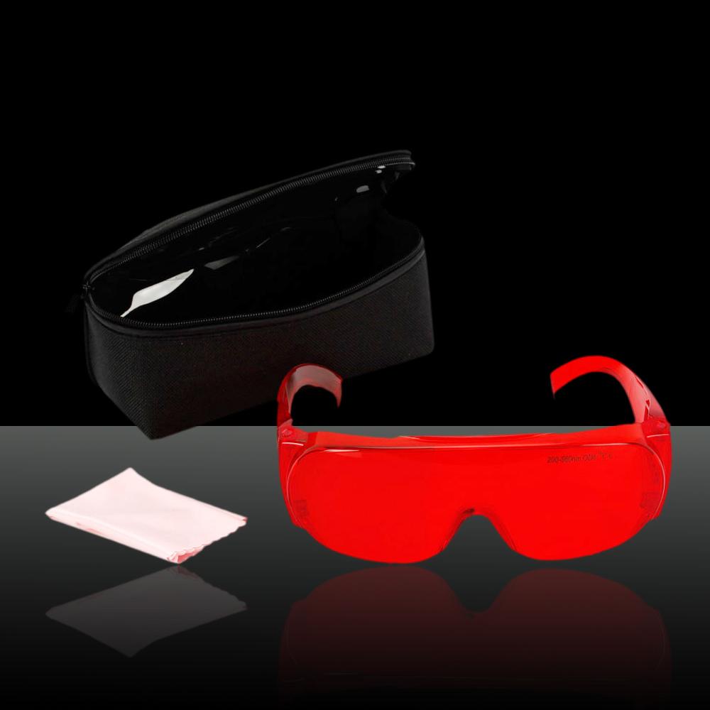 Verres de lunettes de protection de yeux de laser de 200-560nm rouges avec le tissu de verres