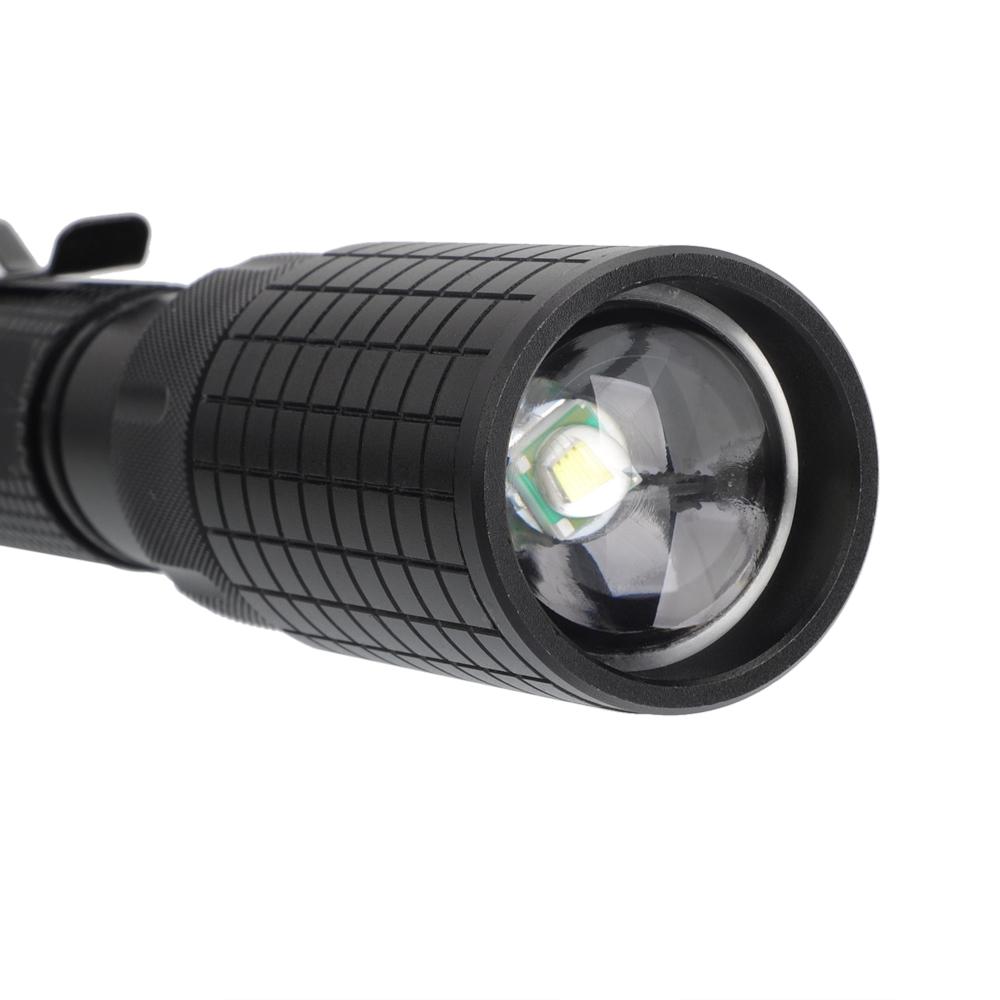 2000LM Juego de linterna táctica de 5 modos Zoom Negro