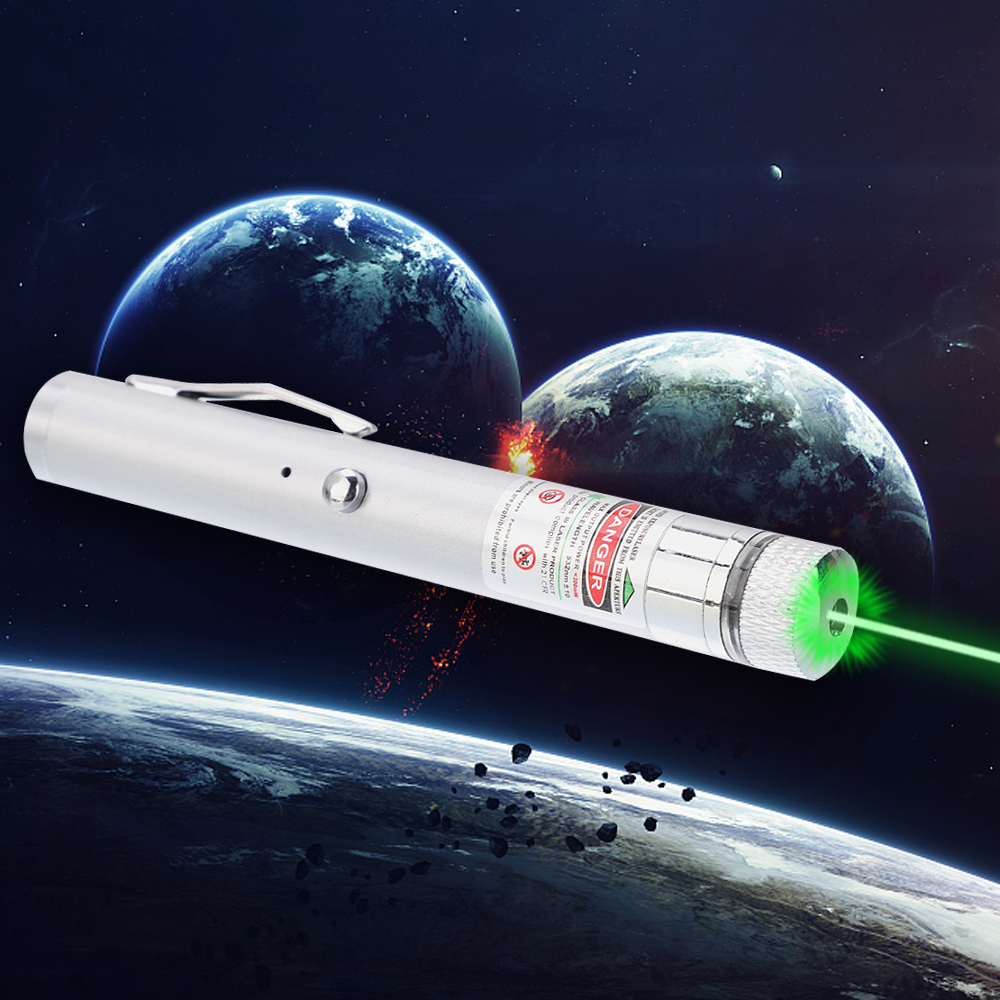 200mW 532nm Green Beam Light Starry Recargable Laser Pointer Pen Silver
