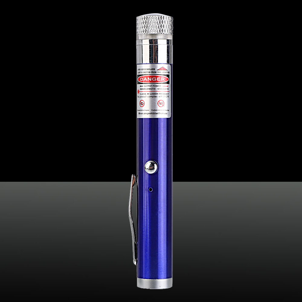 200mW 650nm Red feixe de luz estrelado recarregável Laser Pointer Pen Azul