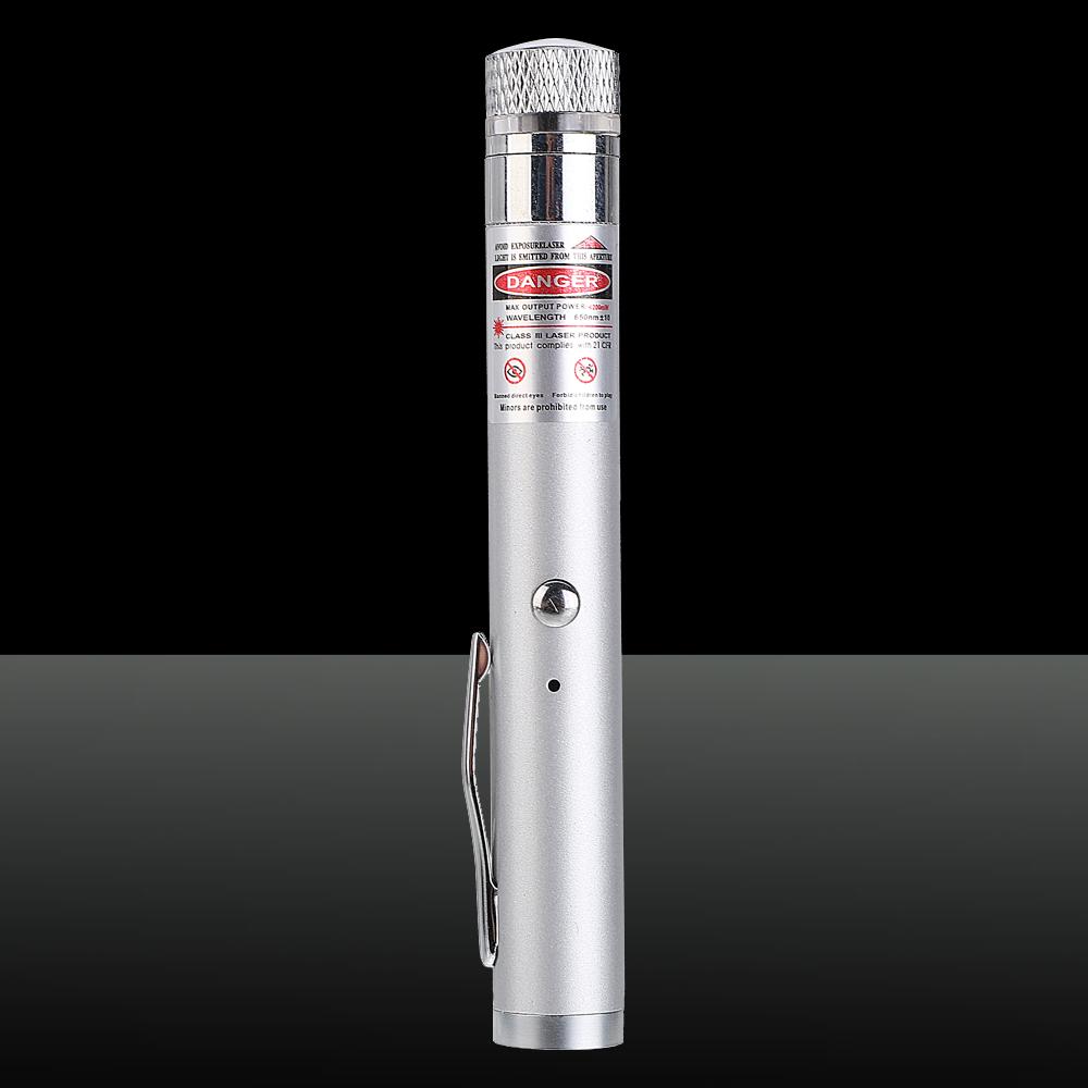 200mW 650nm Luz de haz rojo Luz estrellada recargable Lápiz puntero láser Plata