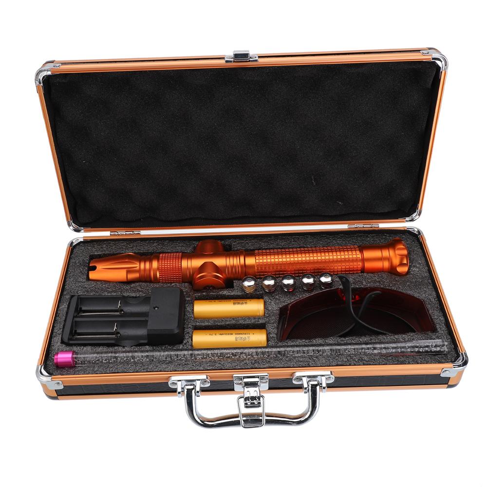 50000mw 450nm 5 en 1 doré bleu de pointeur laser rechargeable de puissance élevée